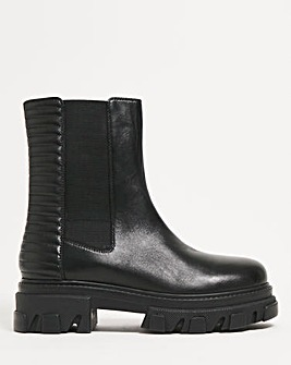 Kathleen Chunky Leather Ankle Boots Wide Fit