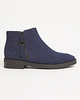 Ankle Boots Zip Detail Wide Fit