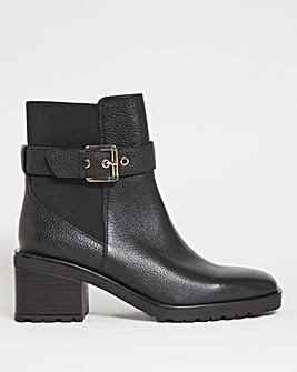 Square Toe Leather Ankle Boots Wide