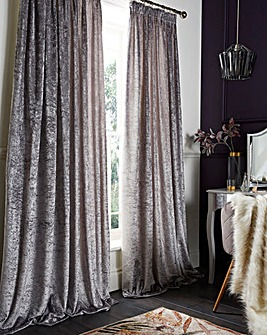 Crushed Velvet Lined Pencil Pleat Curtains