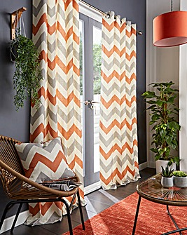 Chevron Print Eyelet Lined Curtain