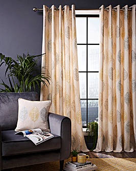 Skandi Leaf Print Eyelet Curtains