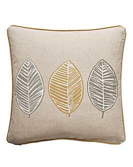 Skandi Leaf Print Filled Cushion