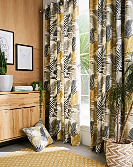 Tropical Print Eyelet Lined Curtains