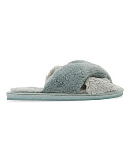 Two Tone Crossover Slippers Wide Fit