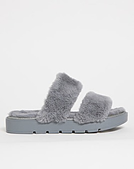 Fluffy Mule Slipper Extra Wide Fit