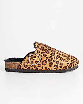 Fluffy Footbed Clog Slippers Wide Fit