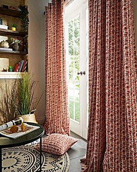 Austin Printed Lined Eyelet Curtains