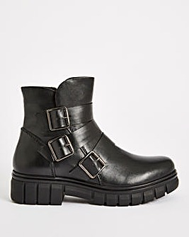 Ember Leather Chunky Ankle Boots Wide Fit