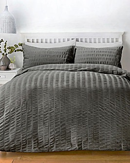 Serene Charcoal Seersucker Duvet Set