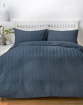 Serene Denim Seersucker Duvet Set