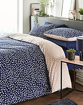 Multi Spot Pink & Navy Printed Duvet Set