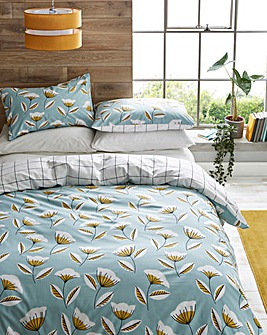 Lola Blue Floral Printed Reversible Duvet Set
