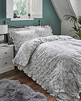 Madeline Grey Printed Reversible Duvet Set