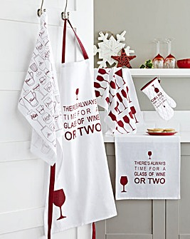 Glass of Wine 5-Piece Kitchen TextileSet