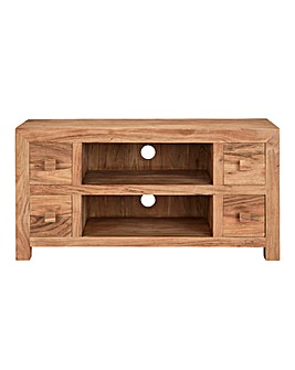 Java Ready Assembled Solid Acacia Wood Wide TV Unit