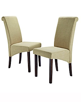 Siena Fabric Pair of Dining Chairs