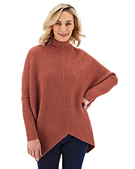 Pink Cosy High Neck Ribbed Detail Jumper