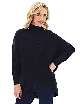 Navy Cosy High Neck Ribbed Detail Jumper