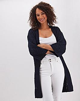 Navy Cotton Slub Kimono Cardigan