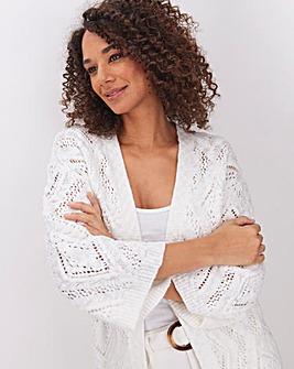 Ivory Cotton Slub Kimono Cardigan