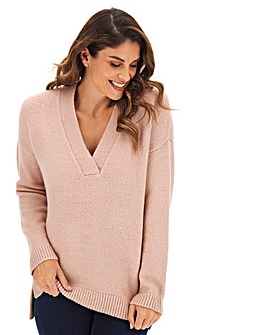 Blush Cosy V Neck Jumper