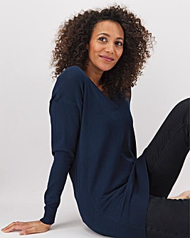Navy Slouchy V-neck Tunic