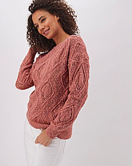 Pink Cotton Slub Slash Neck Jumper