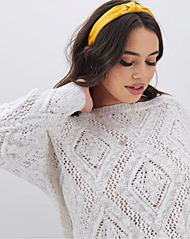 Ivory Cotton Slub Slash Neck Jumper