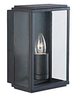 Black Glass Box Outdoor Wall Light