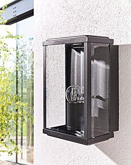 Black Glass Box Hardwired Wall Light