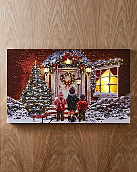 Snowy Children & Dog LED Canvas