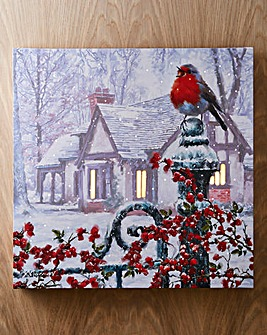 Snowy Robin LED Canvas