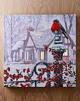 Snowy Robin LED Canvas