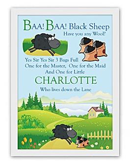 Personalised Nursery Rhyme Poster - Baa