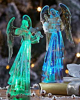 Set Of 2 Light Up Angel Decorations