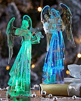 Set Of 2 Light Up Angel Decorations