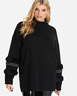 Quiz Curve Black Knit Jumper faux Fur