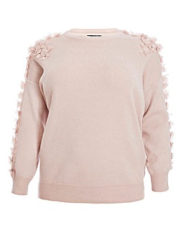 Quiz Curve Floral Detail Knit Jumper