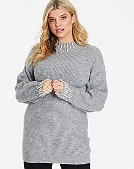 Quiz Curve Pearl Detail Knit Jumper