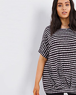 Painted Stripe Pleat Hem Top