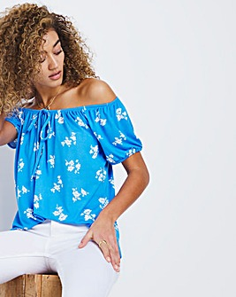 Blue Floral Gypsy Top