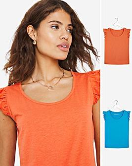 Aqua/ Orange 2 Pack Ruffle Sleeve Tops