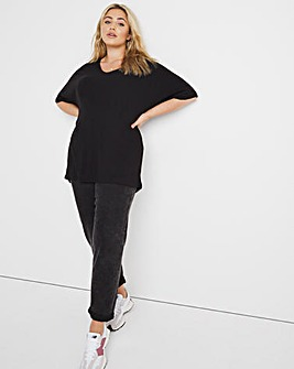 Black Soft Touch V Neck Slouchy Top