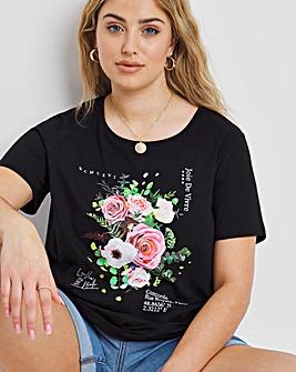 Black Flower Slogan T-Shirt