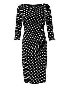 Grace Polka Dot Side Gather Midi Dress