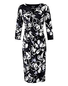 Grace Floral Wrap Dress With Bar Neck Trim