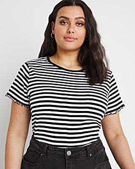 Short Sleeve Stripe Rib Tee
