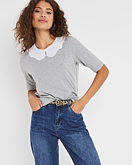 Broderie Collar Trim Half Sleeve Top