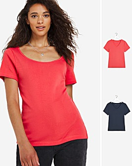 Navy/Red 2 Pack SS V Neck T Shirts